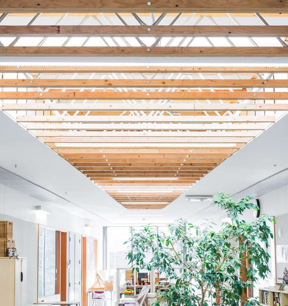X-Shaped School Creates Unique Framing Challenges