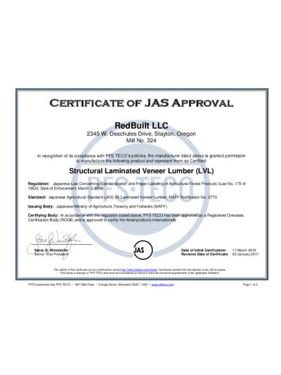 JAS Approval – RedLam™ LVL Thumbnail
