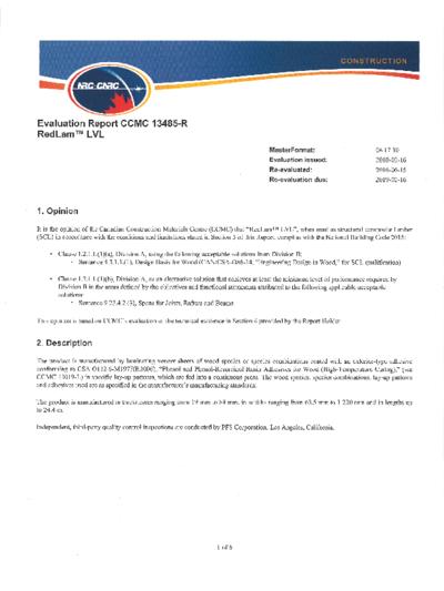CCMC 13485-R: RedLam™ LVL Thumbnail