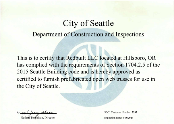 Fabricator Certificate: Hillsboro, OR – Open-Web Trusses, Seattle Thumbnail