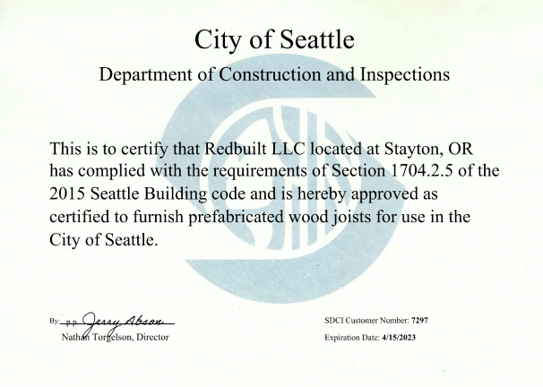 Fabricator Certificate: Stayton, OR – I-Joists, Seattle Thumbnail