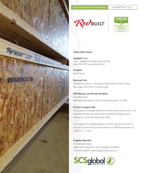 Environmental Product Declaration (EPD) – RedBuilt Red-I™ Joists Thumbnail