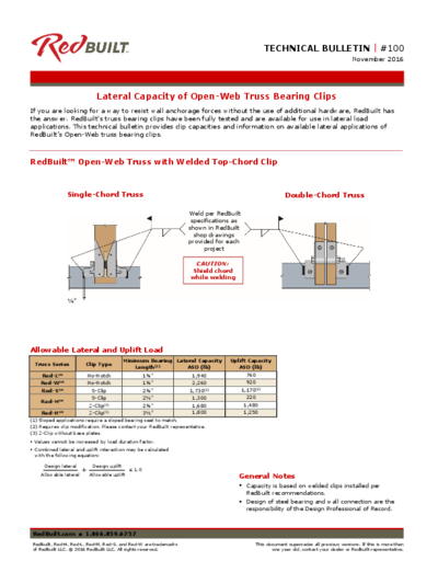 Lateral Capacity of Open-Web Truss Bearing Clips Thumbnail