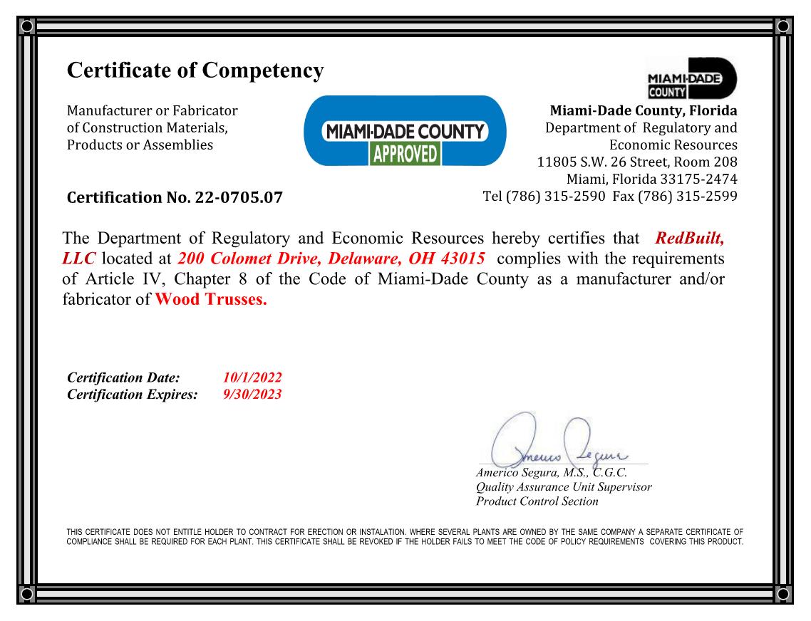 Fabricator Certificate: Miami-Dade County Thumbnail