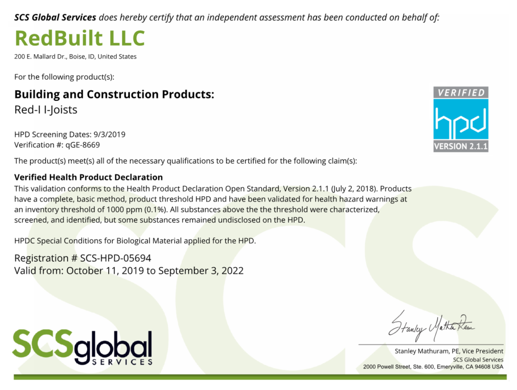 Health Product Declaration (HPD) – RedBuilt Red-I™ Joists Thumbnail