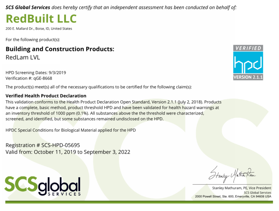 Health Product Declaration (HPD) – RedBuilt RedLam™ LVL Thumbnail