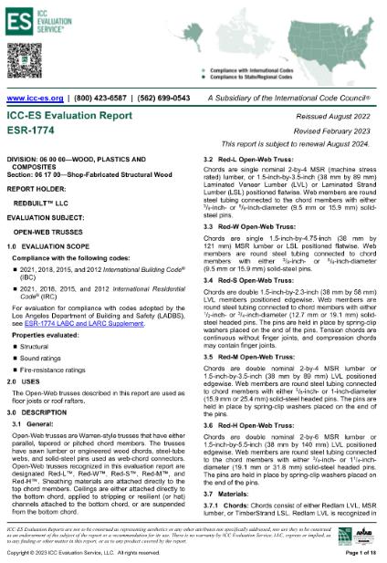 ICC-ES Report ESR-1774: Open Web Trusses Thumbnail