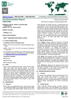 ICC-ES Report ESR-2994: Red-I™ Prefabricated Wood I-Joists Thumbnail