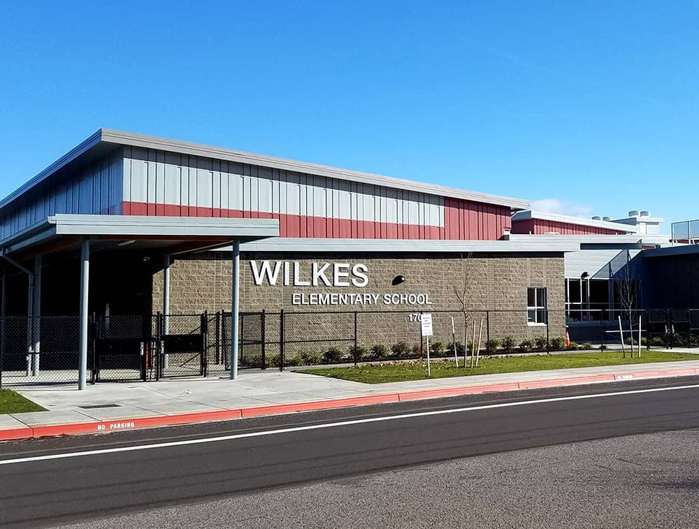 The Wilkes Elementary School built with LVL is seen in mid-day sunlight