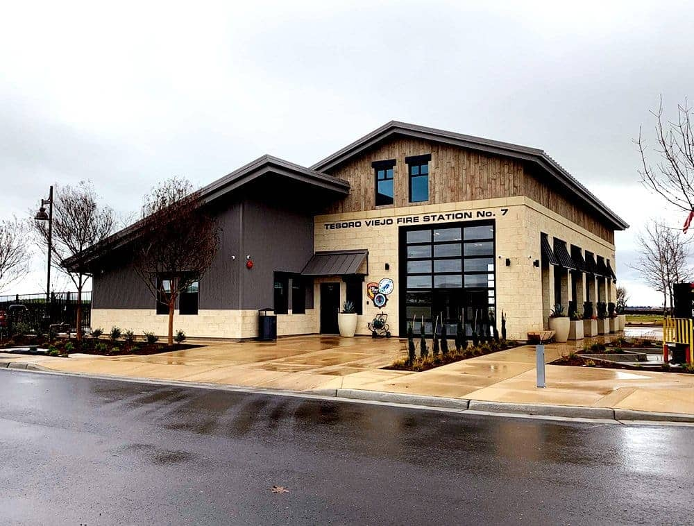 A fire station built with LVL stands in overcast weather