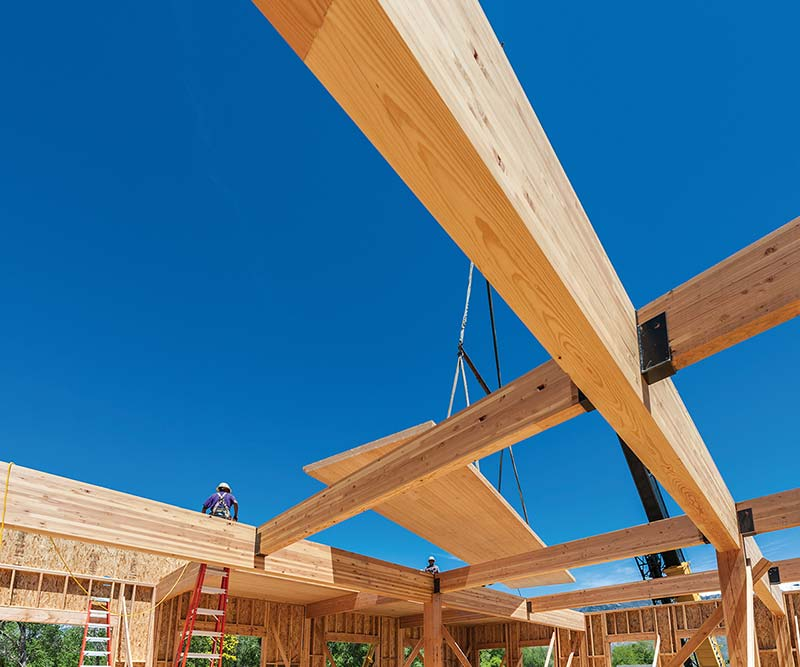 Cross laminated timber beams in Star Mill building