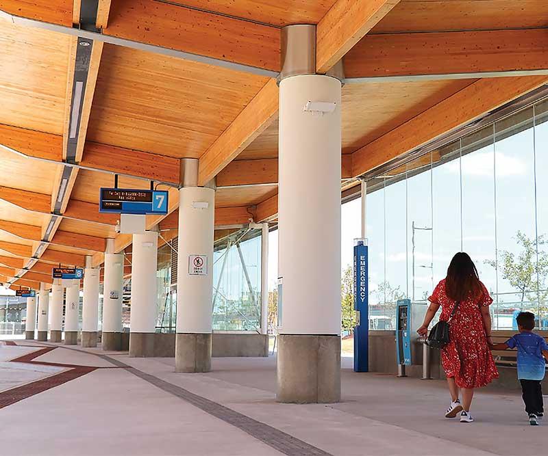Cross laminated timber overhang at SmartCenter Vaughan Bus Terminal