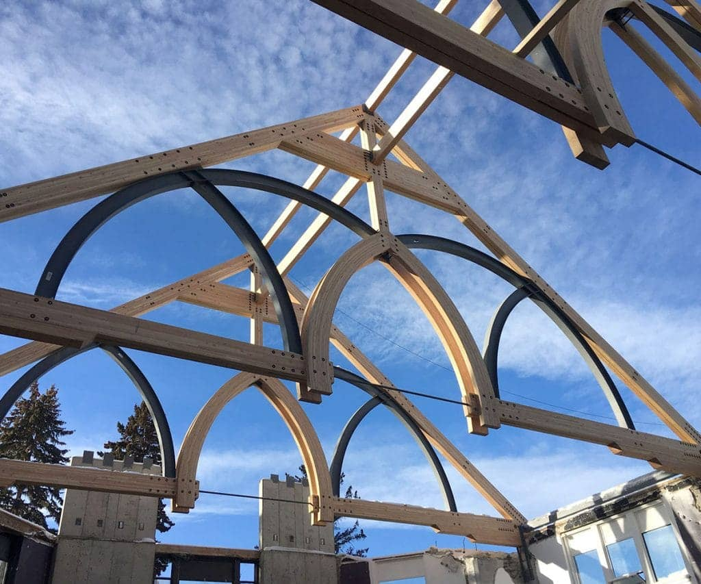 A church is being built with glulam beams