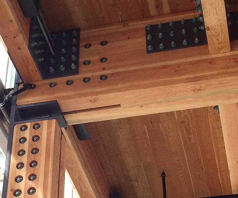 Mass timber beams with steel connections in the Tacoma Amtrak Station