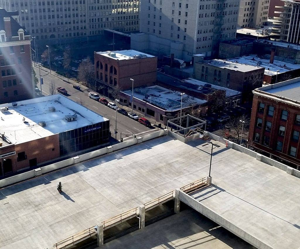 A drone photo of a parking garage after concrete forming