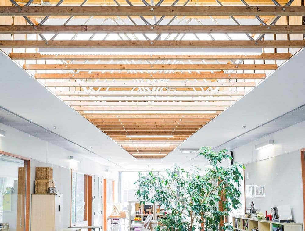 A bright and airy school with exposed roof trusses