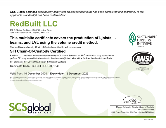 SFI Chain of Custody Certificate for Red-I™ Joists and RedLam™ LVL Thumbnail